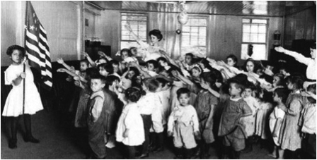 American children giving the Bellamy salute